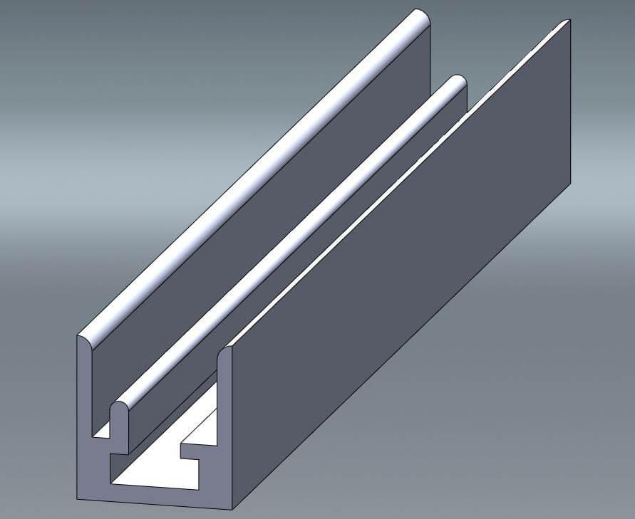 Eine technische Zeichnung von einem silber matten HK 10 Aluminium-Rahmenprofil für 10 mm Leichtschaumplatten