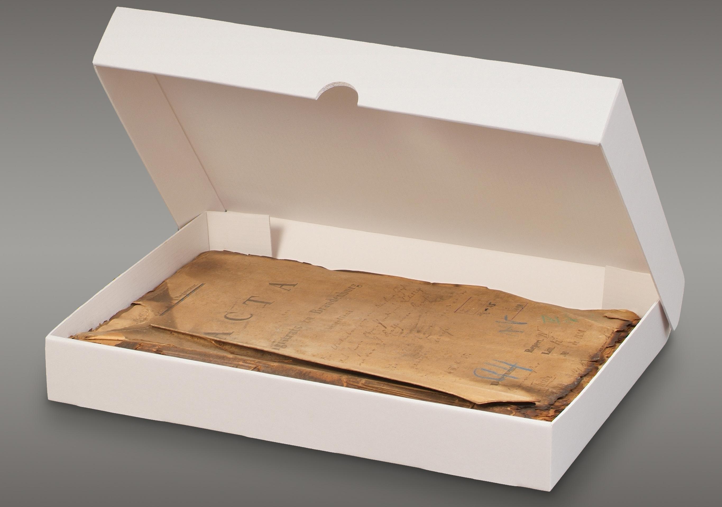 Klappdeckelboxen aus unserer 1,6 mm Archiv-Wellpappe